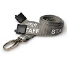 STAFF ID Lanyards GREY, printed with text in white. 15mm with Metal Lobster Clip And Safety-Breakaway. Pack of 100