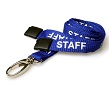 STAFF ID Lanyards ROYAL BLUE, printed with text in white. 15mm with Metal Lobster Clip And Safety-Breakaway. Pack of 100