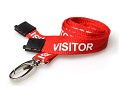 VISITOR Lanyards RED 15mm with Metal Lobster Clip And Safety-Breakaway. Pack of 100