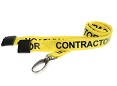 CONTRACTOR ID Lanyards YELLOW 15mm with Metal Lobster Clip And Safety-Breakaway. Pack of 100