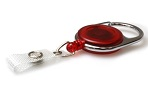 Red Translucent Carabiner ID Badge Reels with Strap Clip (Pack of 50) Yo Yo